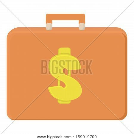Money briefcase icon. Cartoon illustration of money briefcase vector icon for web