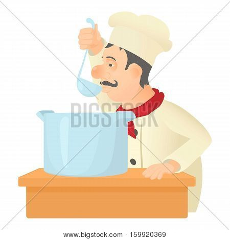 Cooking chef icon. Cartoon illustration of cooking chef vector icon for web
