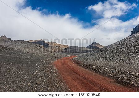 Red empty dirt road in Icelandic volcanic inland is accesible just by 4x4 vehicles