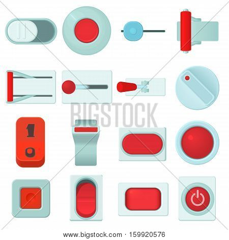 On off switch web buttons icons set. Cartoon illustration of 16 on off switch buttons vector icons for web