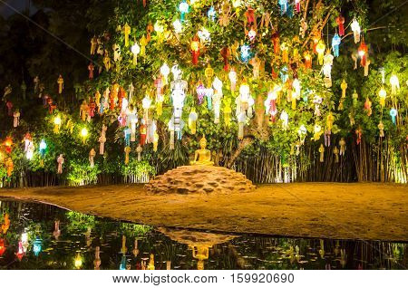Floating lantern in Wat Phan Tao Temple, Chiangmai,Thailand