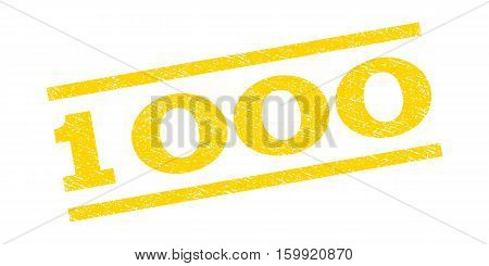 1000 watermark stamp. Text tag between parallel lines with grunge design style. Rubber seal stamp with scratched texture. Vector yellow color ink imprint on a white background.