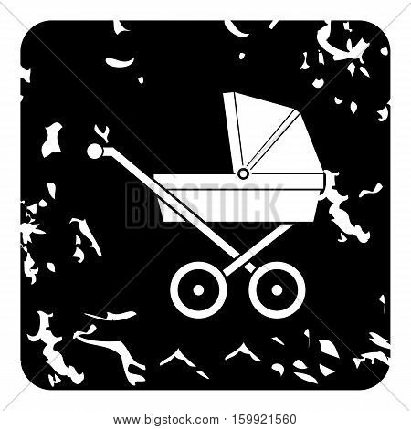 Children stroller icon. Grunge illustration of children stroller vector icon for web