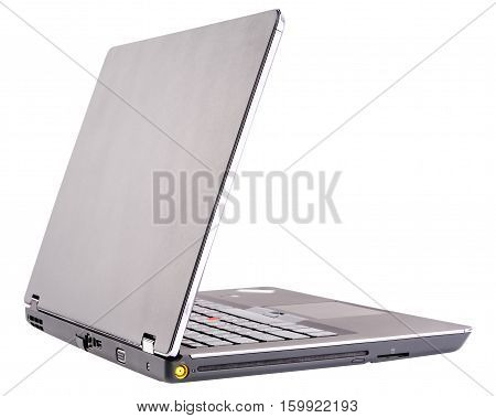 Notebook with open cover rear view isolated on the white background
