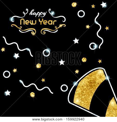 Elegant black new year's eve background with gold and silver party design. Graphics are grouped and in several layers for easy editing. The file can be scaled to any size.