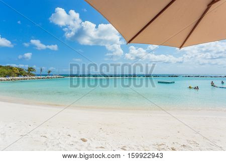 Flamingo beach at Aruba. Renaissance Aruba Private Island