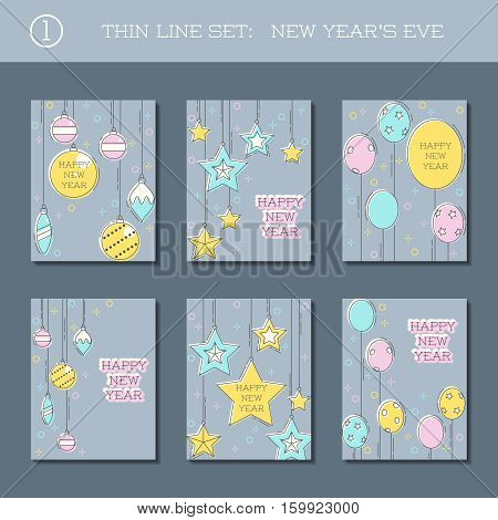 Set of 6 new year's eve backgrounds in thin line style. US Letter size. Easily croppable to A4 size. Graphics are grouped and in several layers for easy editing. The file can be scaled to any size.
