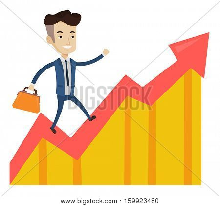 Caucasian successful businessman running on profit chart. Cheerful businessman walking along the profit chart. Business profit concept. Vector flat design illustration isolated on white background.