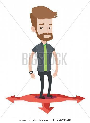 Caucasian hipster man with the beard standing on three alternative career ways. Young man choosing career way. Concept of career choices. Vector flat design illustration isolated on white background.