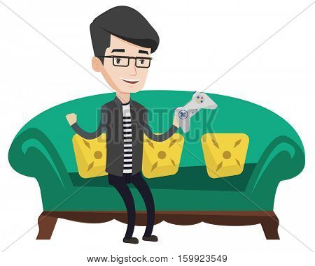Happy caucasian gamer sitting on a sofa and playing video game. An excited young gamer with console in hands playing video game at home. Vector flat design illustration isolated on white background.