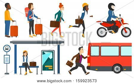 Latecomer man running along the sidewalk to reach a bus. Young man came too late at bus stop. Man with briefcase chasing a bus. Set of vector flat design illustrations isolated on white background.