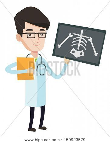 Caucasian doctor examining a radiograph. Young smiling doctor looking at a chest radiograph. Doctor observing a skeleton radiograph. Vector flat design illustration isolated on white background.