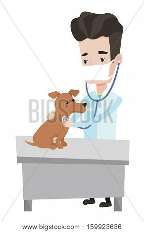 Young male veterinarian examining dog in hospital. Veterinarian checking heartbeat of a dog. Caucasian veterinarian using stethoscope. Vector flat design illustration isolated on white background.
