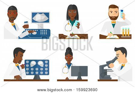 Doctor sitting with ultrasound scanner in hands. Doctor working on modern ultrasound equipment. Doctor using ultrasound scanner. Set of vector flat design illustrations isolated on white background.