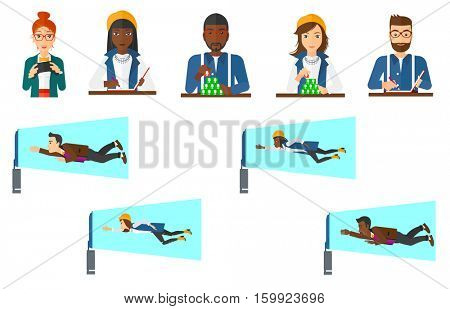 Young man watching television set. Man flying in front of TV screen. Concept of television addiction. Man building social network. Set of vector flat design illustrations isolated on white background.