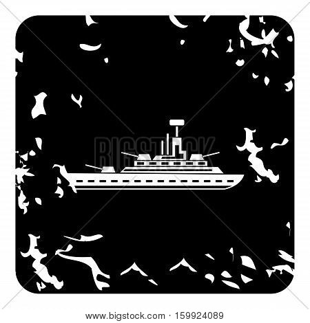 Warship icon. Grunge illustration of warship vector icon for web