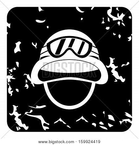 Hat and sunglasses tanker icon. Grunge illustration of hat and sunglasses tanker vector icon for web