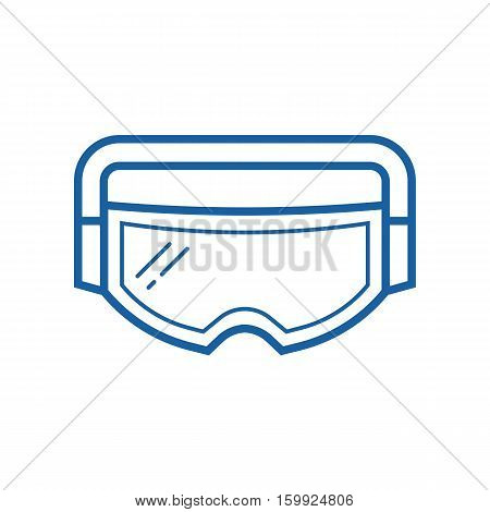 Snowboard or ski goggles vector icon. Skiing or snowboarding face protection glasses in outline design.