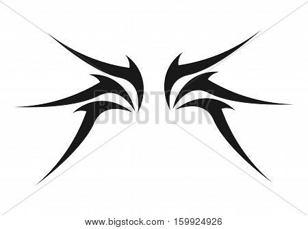 Tribal Wing Logo or Tatto Design. Isolated.