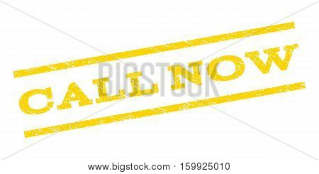 Call Now watermark stamp. Text caption between parallel lines with grunge design style. Rubber seal stamp with dust texture. Vector yellow color ink imprint on a white background.