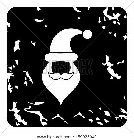 Hat and beard with mustache of Santa Claus icon. Grunge illustration of hat and beard with mustache of Santa Claus vector icon for web