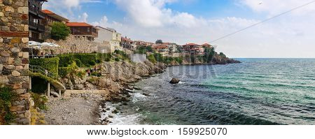 SOZOPOL BULGARIA SEPTEMBER 03 2014: Seaside resort of Sozopol in Bulgaria. Old town Sozopol was founded in the 7th century BC by Greek colonists on the Black sea coast. Panoramic shot.