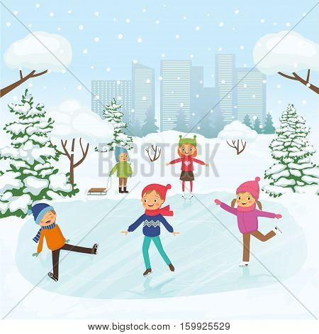 Children are skating in the park on the background of snowy city. Vector illustration