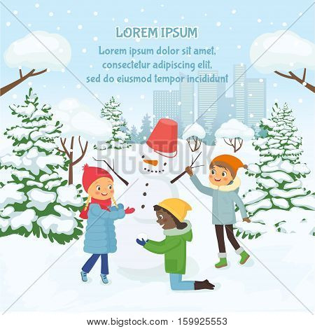 Children making the snowman on the background of snowy city. Vector illustration