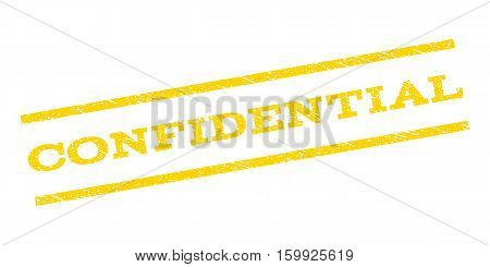 Confidential watermark stamp. Text tag between parallel lines with grunge design style. Rubber seal stamp with dirty texture. Vector yellow color ink imprint on a white background.