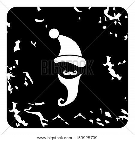 New year hat and mustache of Santa Claus icon. Grunge illustration of new year hat and mustache of Santa Claus vector icon for web