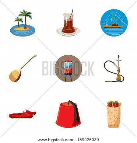 Turkey icons set. Cartoon illustration of 9 Turkey vector icons for web