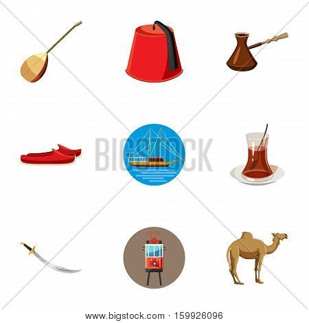 Stay in Turkey icons set. Cartoon illustration of 9 stay in Turkey vector icons for web