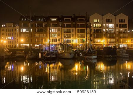 View of the marina in Gdansk on the Motlawa river in the city center.