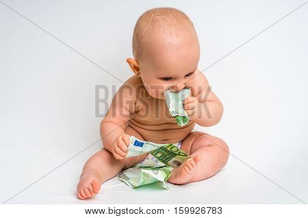 Adorable Baby With Euro Bills Money - Isolated On White