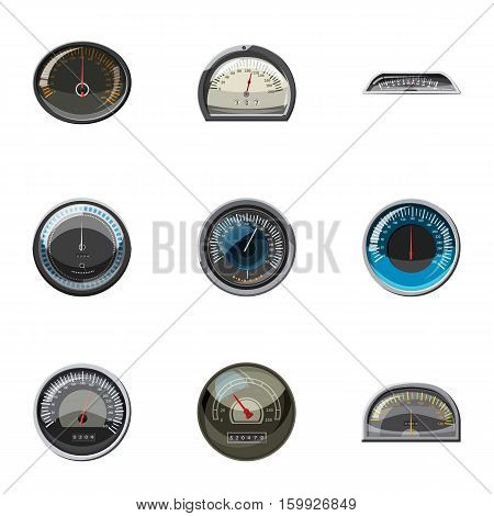 Engine speedometer icons set. Cartoon illustration of 9 engine speedometer vector icons for web