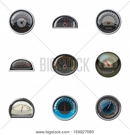 Speedometer for transport icons set. Cartoon illustration of 9 speedometer for transport vector icons for web
