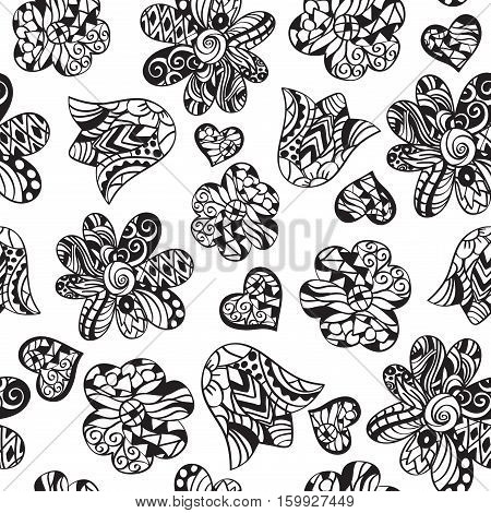 Vector monochrome seamless pattern with hand drawn flowers and hearts with doodle ornament