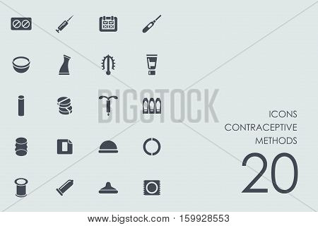contraceptive methods vector set of modern simple icons