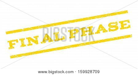 Final Phase watermark stamp. Text tag between parallel lines with grunge design style. Rubber seal stamp with unclean texture. Vector yellow color ink imprint on a white background.