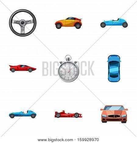 Race and awarding icons set. Cartoon illustration of 9 race and awarding vector icons for web