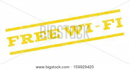 Free Wi-Fi watermark stamp. Text caption between parallel lines with grunge design style. Rubber seal stamp with scratched texture. Vector yellow color ink imprint on a white background.