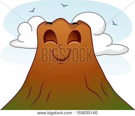 Mascot Illustration of a Calm and Peaceful Volcano Framed by a Clear Sky