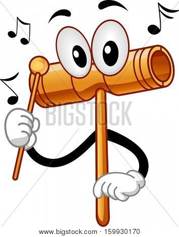 Mascot Illustration of a Two Tone Wood Block Tapping Itself with a Beater to Produce Sounds