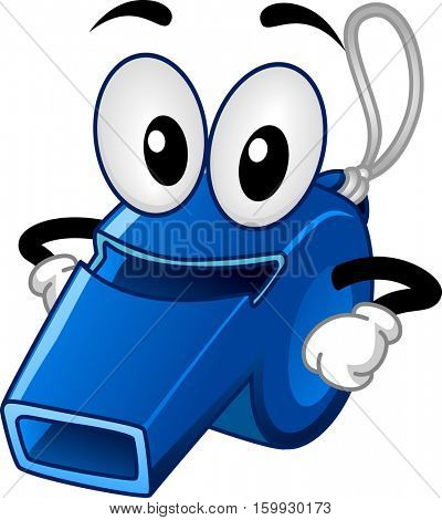 Mascot Illustration of a Blue Sports Whistle with its Arms Placed Against its Waist