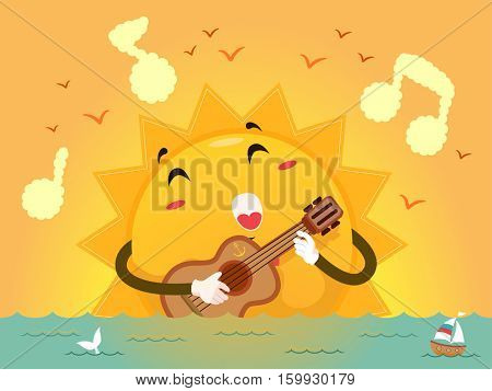 Colorful Illustration of a Sun Mascot Singing a Song as it Strums the Guitar