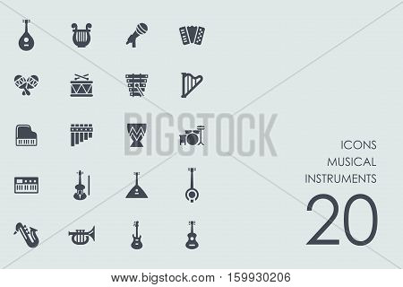 musical instruments vector set of modern simple icons
