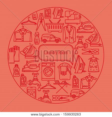 Cleaning business. Laundry, dry cleaning, service elements, washing machine, laundry basket. Design elements are arranged in a circle.