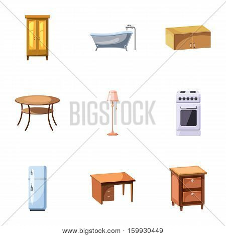 Home environment icons set. Cartoon illustration of 9 home environment vector icons for web