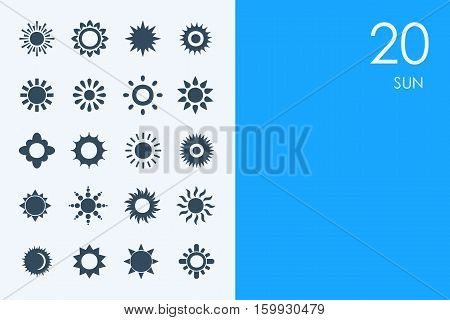 sun vector set of modern simple icons