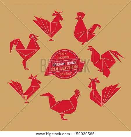 Cartoon icon set. Abstract red rooster sign silhouette on golden background. Freehand drawn stylized origami chicken emblem. Template geometric logo design. Design vector element hen symbol